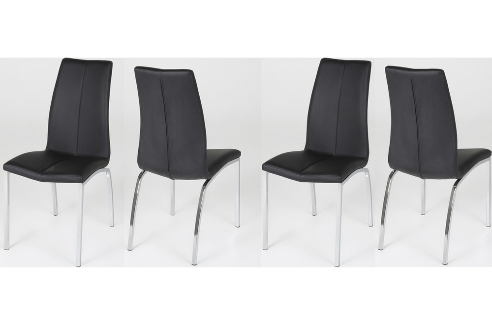 Lot De 4 Chaises Astria En Cuir Artificiel Noir