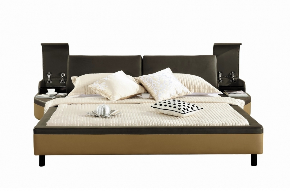 lit en cuir italien de luxe athena chocolat et beige. Black Bedroom Furniture Sets. Home Design Ideas