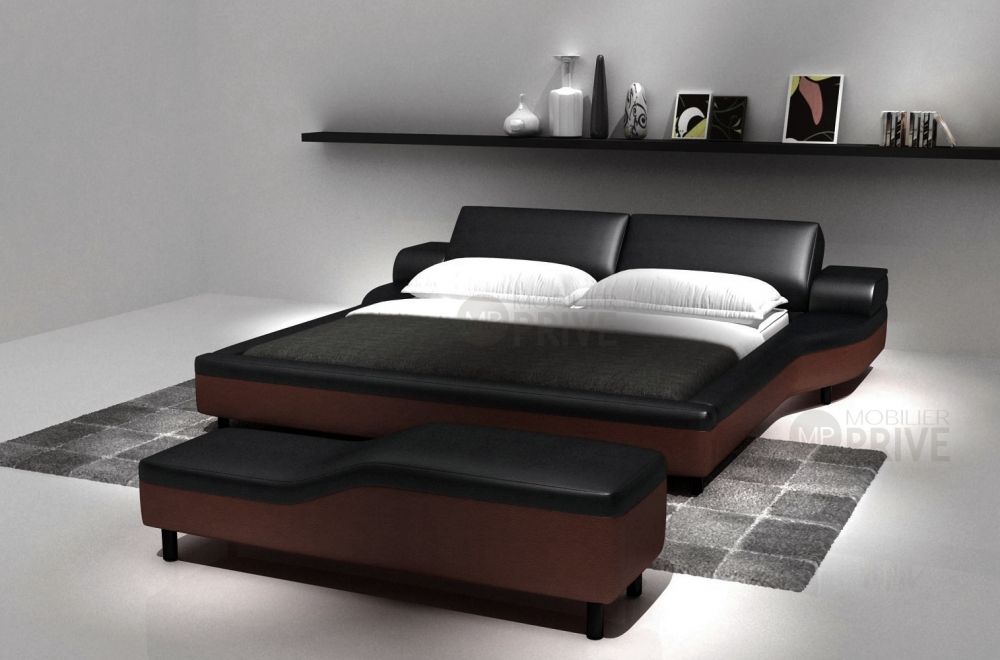 lit en cuir italien de luxe athena noir et chocolat mobilier priv. Black Bedroom Furniture Sets. Home Design Ideas