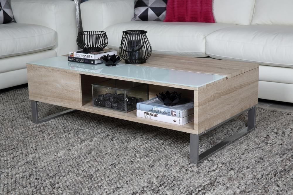 table basse design r glage en hauteur en bois clair et verre avena mobilier priv. Black Bedroom Furniture Sets. Home Design Ideas
