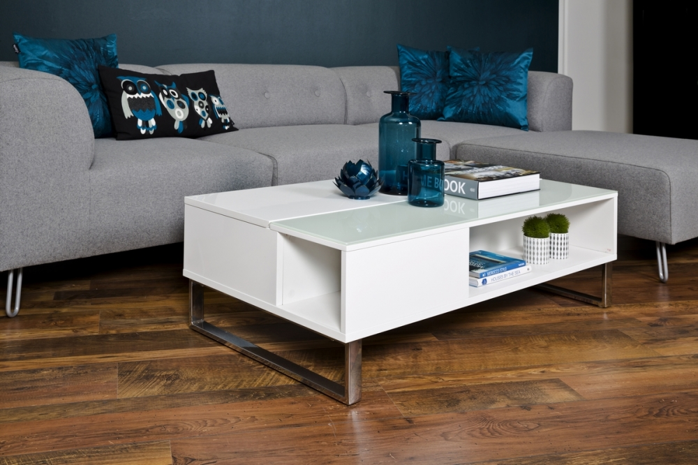 table basse design r glable en hauteur bois laqu blanc. Black Bedroom Furniture Sets. Home Design Ideas