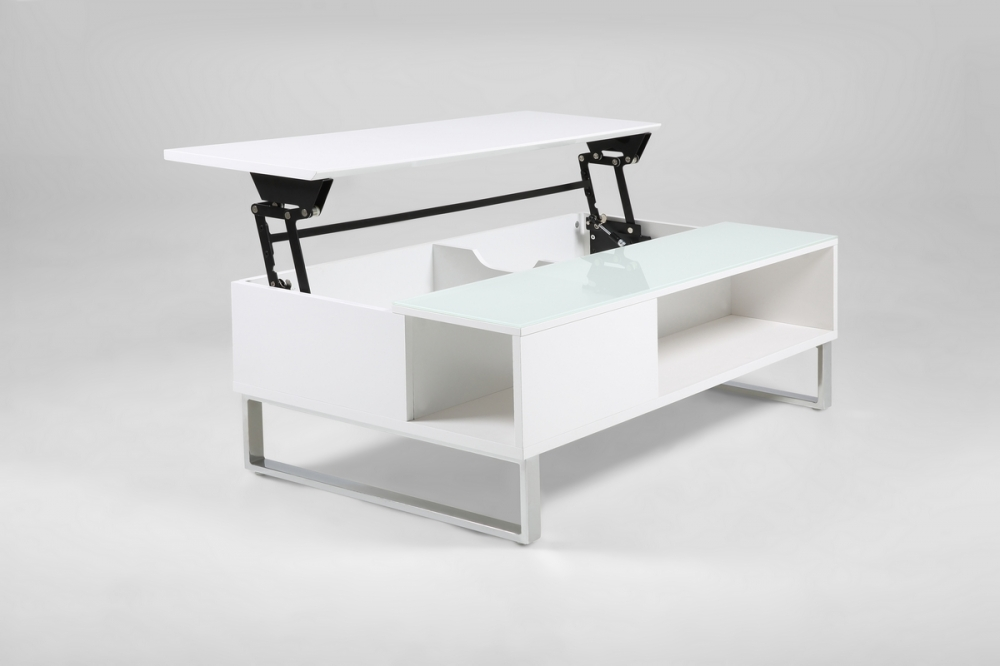 table basse design r glable en hauteur bois laqu blanc et verre azema mo. Black Bedroom Furniture Sets. Home Design Ideas