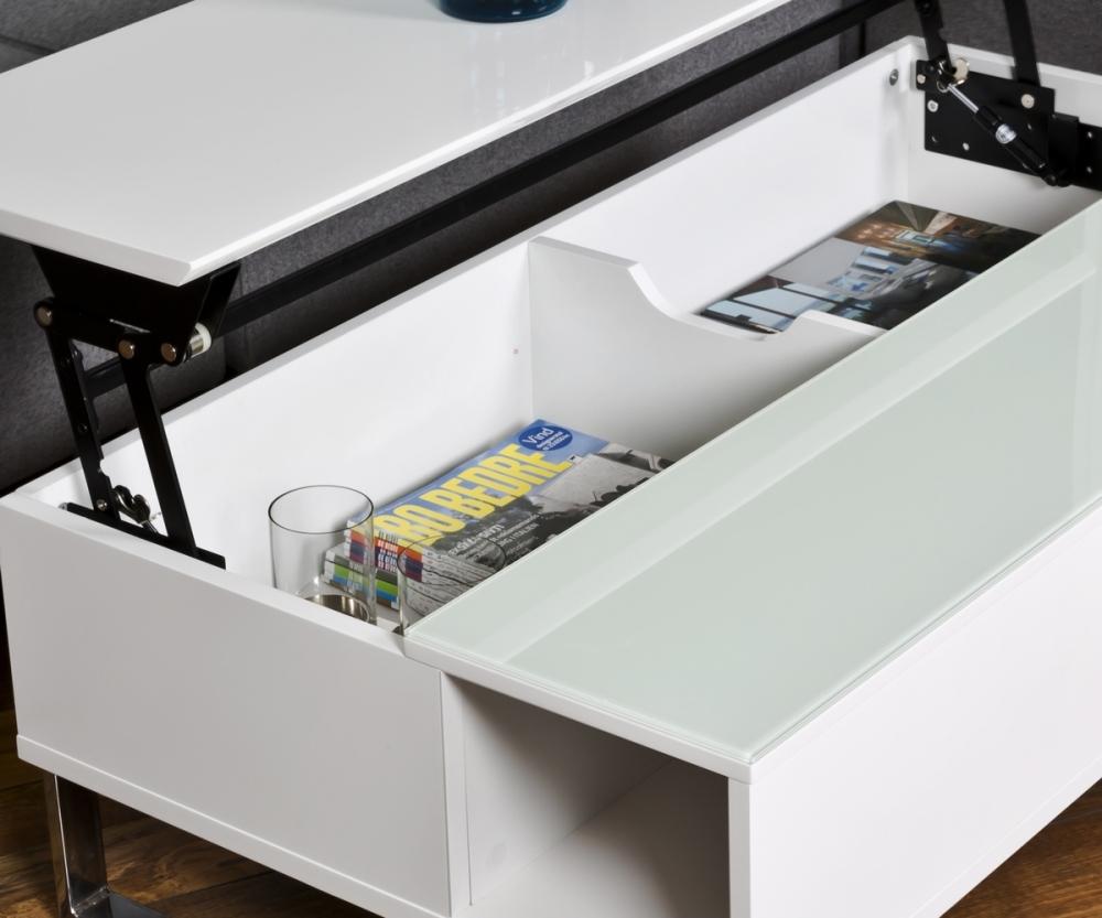 table basse design r glable en hauteur bois laqu blanc et verre azema mobilier priv. Black Bedroom Furniture Sets. Home Design Ideas