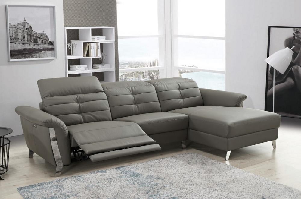 Canapé d'angle avec un relax électrique en cuir de buffle italien de luxe 5 places BEAURELAX gris foncé, angle droit,  POUF OFFERT