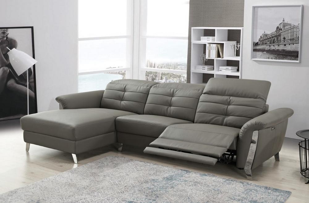 - Canapé d'angle avec un relax électrique en cuir de buffle italien de luxe,  5 places BEAURELAX gris foncé, angle gauche,  POUF OFFERT