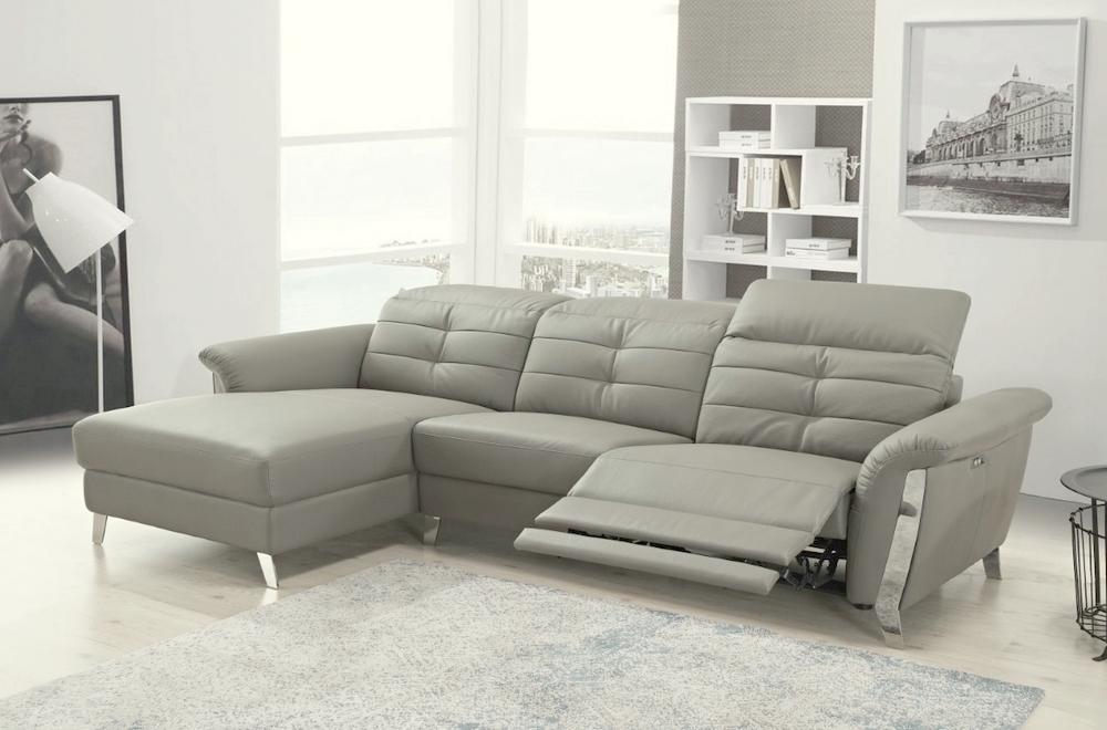 - Canapé d'angle avec un relax électrique en cuir de buffle italien de luxe,  5 places BEAURELAX gris clair, angle gauche,  POUF OFFERT