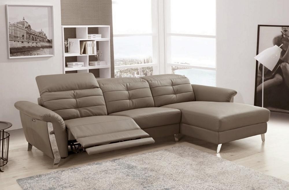 Canapé d'angle avec un relax électrique en cuir de buffle ...