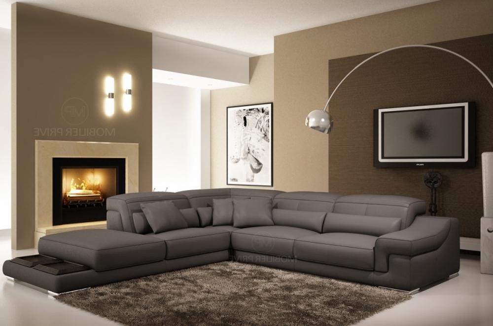 acheter en ligne 84775 7a6c5 Canapé d'angle en cuir italien 6 places BELINO, gris foncé