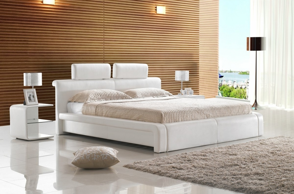 lit design en cuir italien de luxe belio blanc mobilier priv. Black Bedroom Furniture Sets. Home Design Ideas