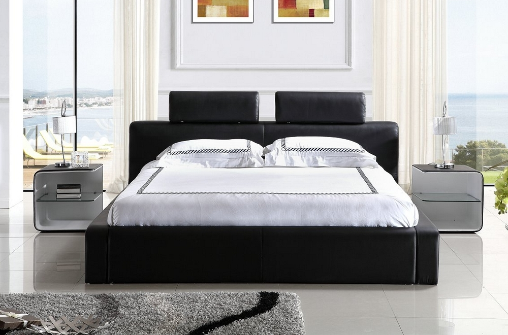 lit design en cuir italien de luxe belio noir mobilier priv. Black Bedroom Furniture Sets. Home Design Ideas