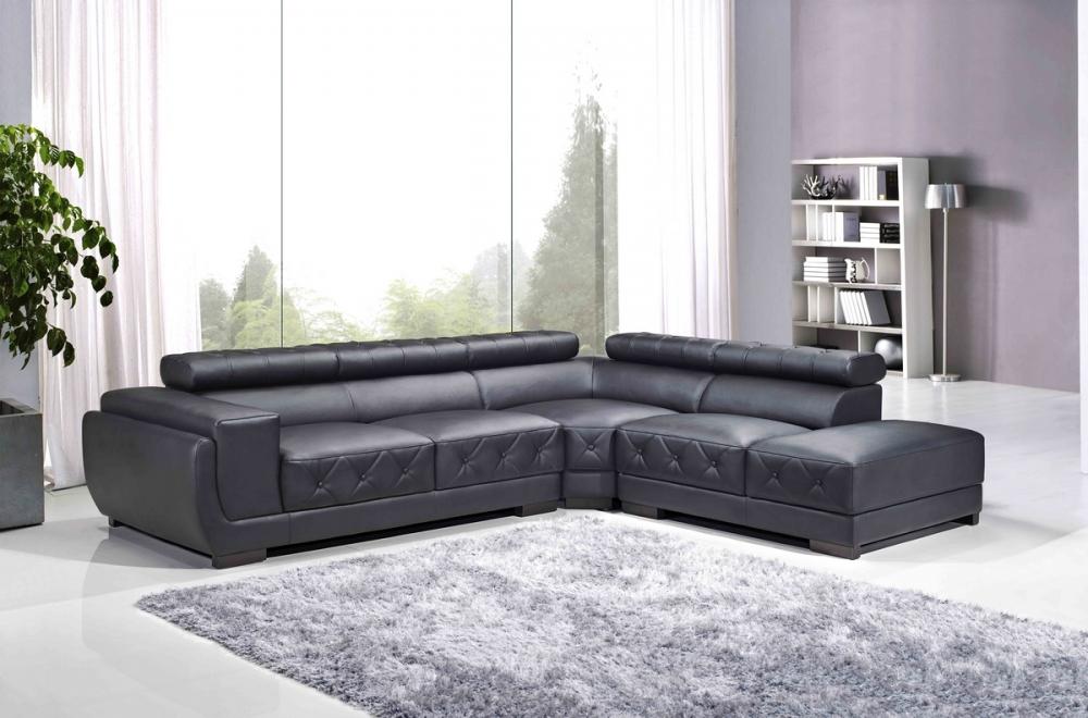 Canap d 39 angle en cuir luxe italien 5 6 places belissimo noir mobilier priv - Canape cuir italien luxe ...