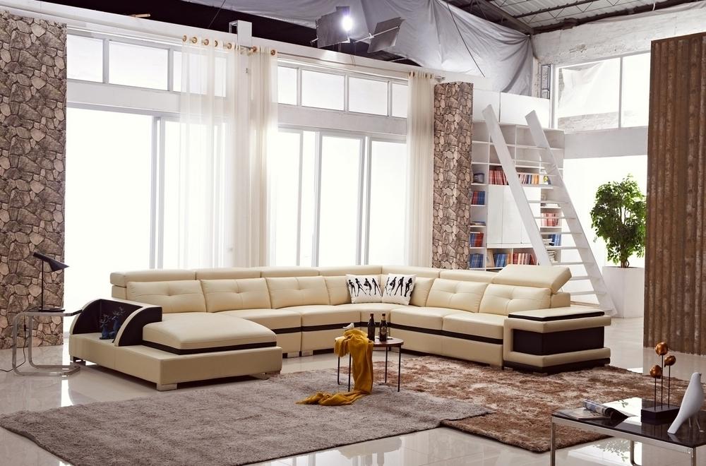 Canapé d'angle cuir buffle italien 7/8 places , BELLISSIMO, beige et chocolat, angle droit