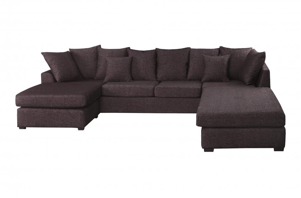 Canapé d'angle panoramique en tissu de qualité belo ...