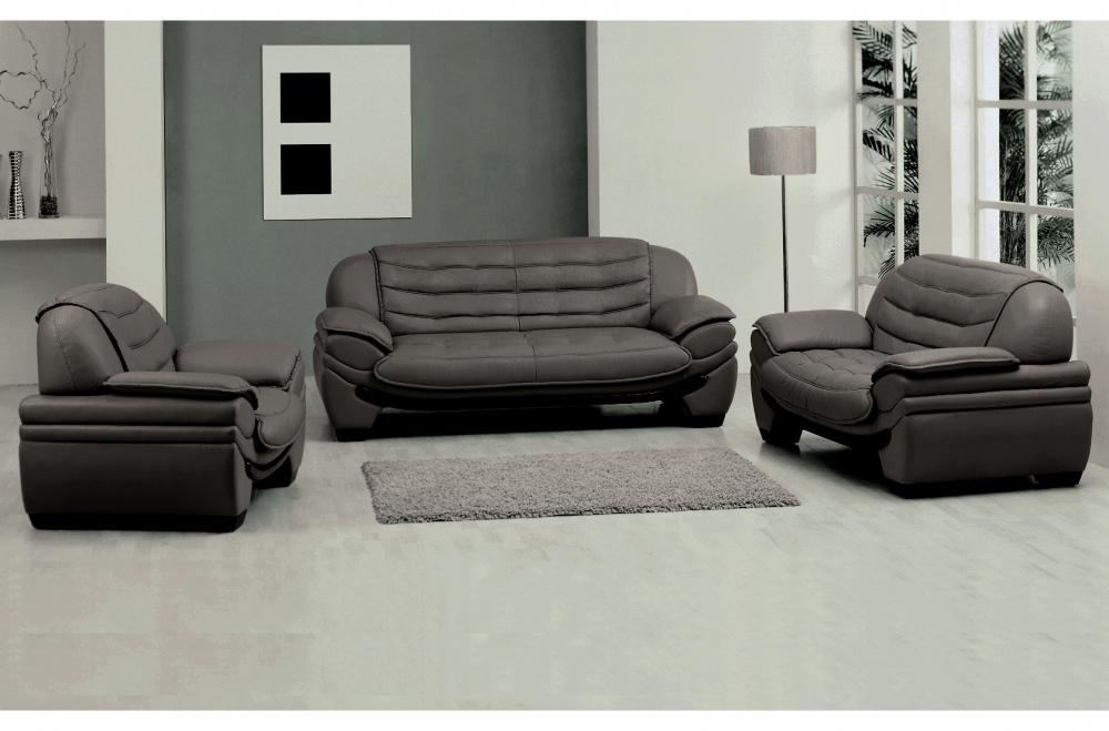 Canapé Places En Cuir Italien Benson Gris Foncé Mobilier Privé - Canapé en cuir gris