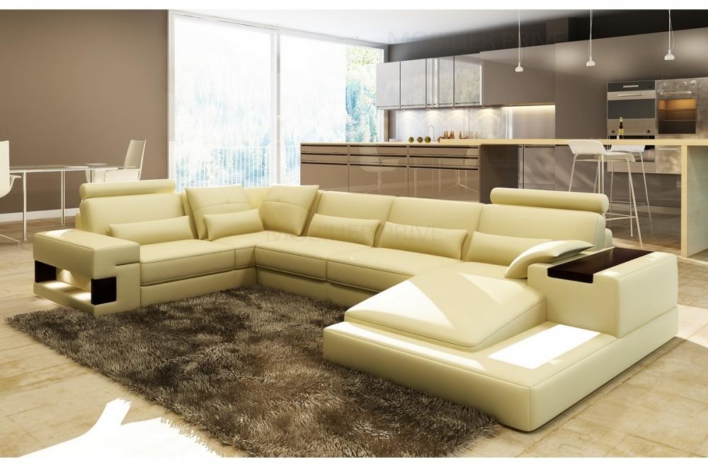 Canap d 39 angle en cuir italien 7 places best cru mobilier priv - Canape d angle 7 places cuir ...