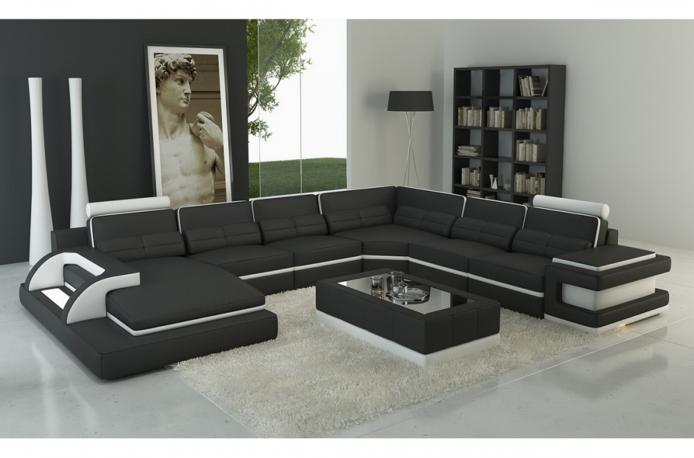 canap d 39 angle en cuir italien 7 8 places bestof noir et blanc mobilier priv. Black Bedroom Furniture Sets. Home Design Ideas