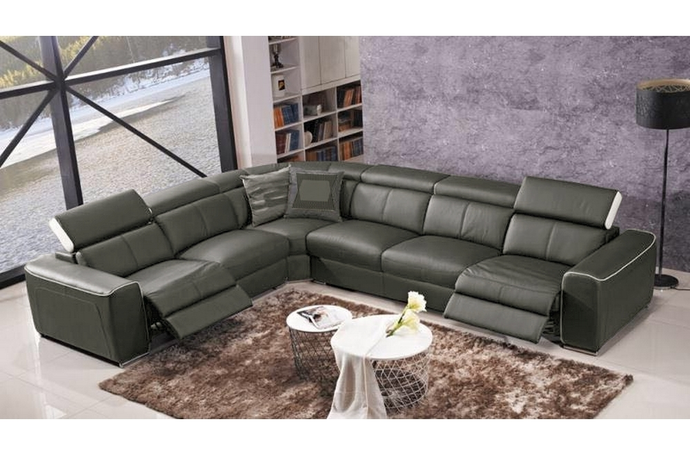 Canapé d'angle double relax électrique en cuir de buffle italien de luxe 7/8 places BESTRELAX gris foncé et blanc, angle gauche