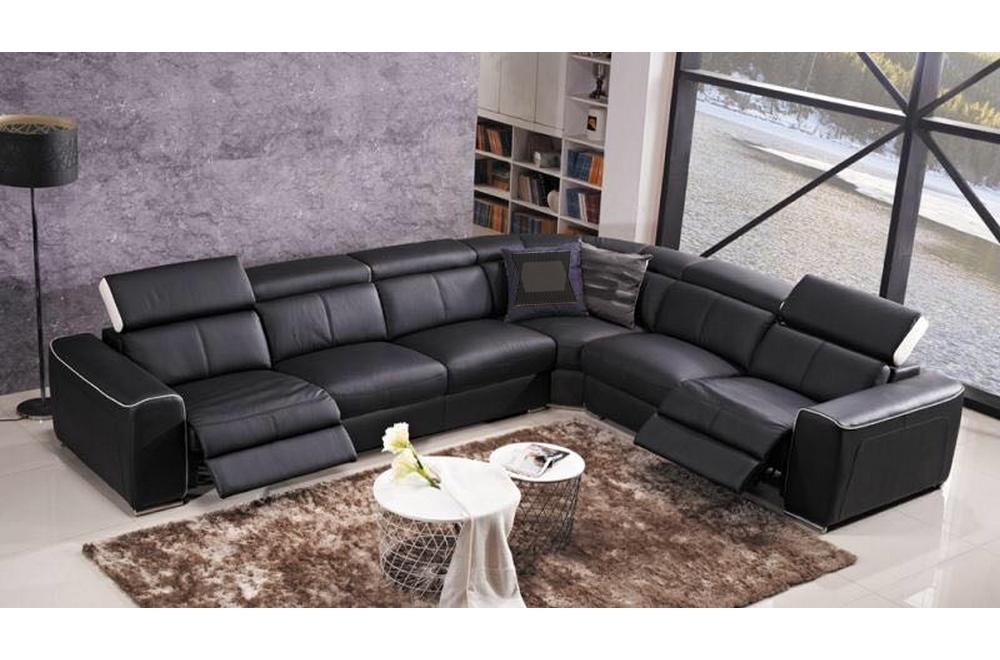 site réputé 8bc16 7fd0d Canapé d'angle double relax électrique en cuir de buffle italien de luxe  7/8 places BESTRELAX, noir et blanc, angle droit