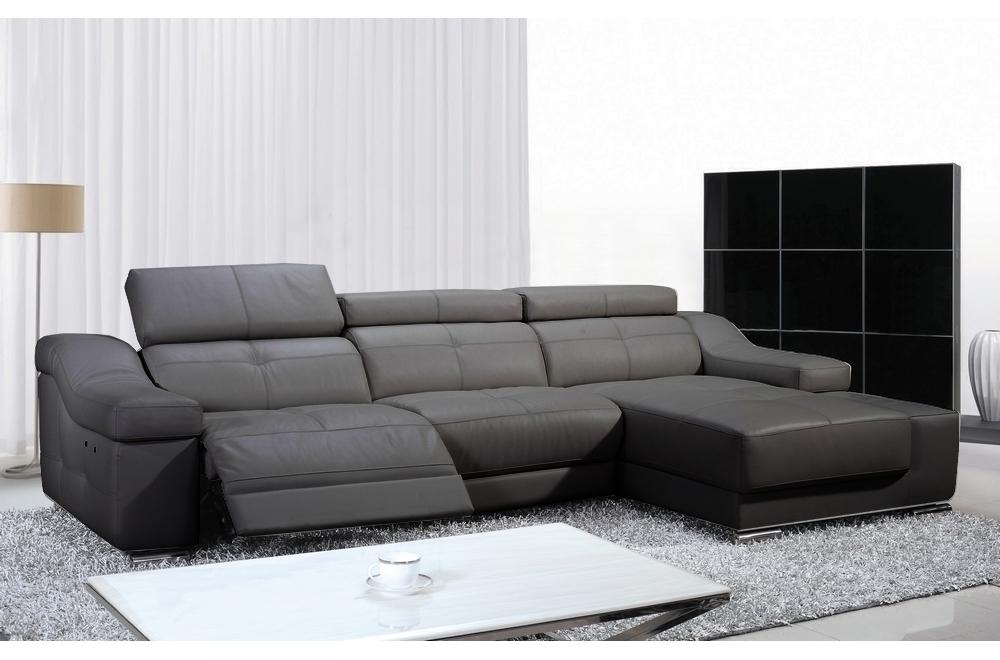 prix le plus bas 46aaa 48369 Canapé d'angle double relax en cuir de buffle italien de luxe 5 places  BiRELAX, gris foncé, angle droit.