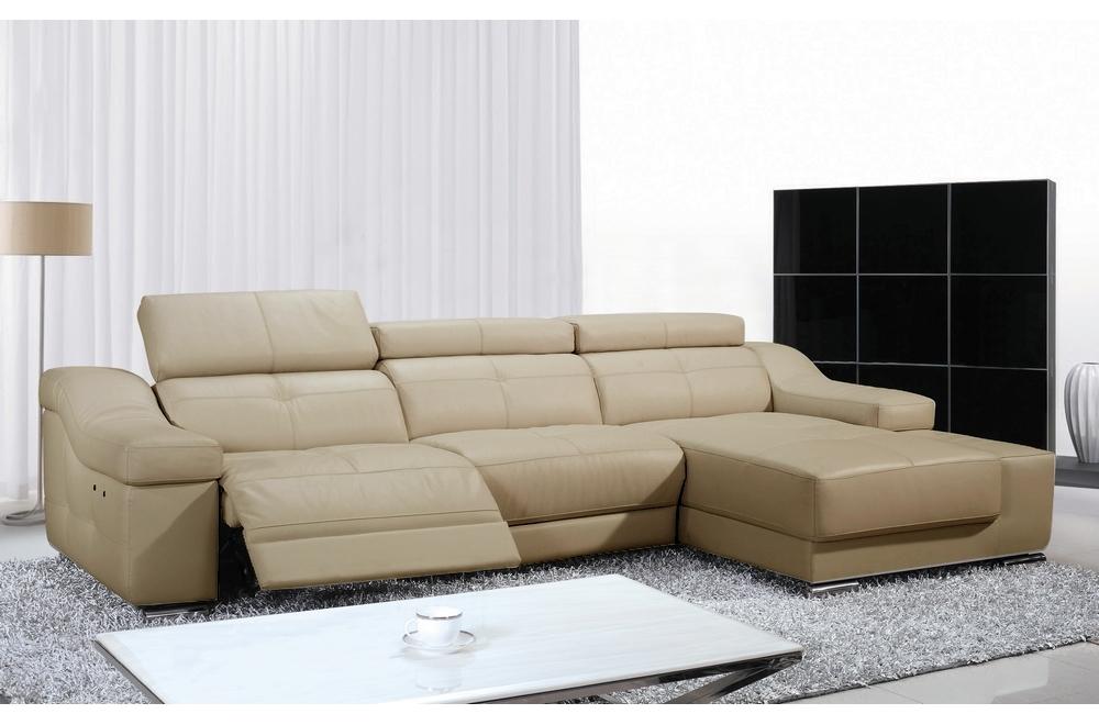Canapé d'angle double relax en cuir de buffle italien de luxe 5 places BiRELAX, beige, angle droit.
