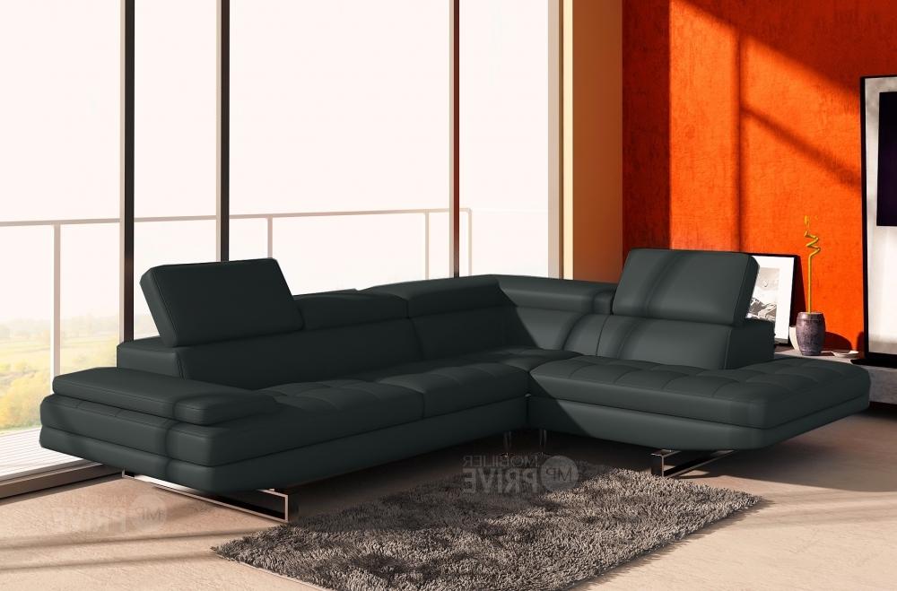 Canap d 39 angle en cuir italien 6 places birkin gris fonc mobilier priv - Canape d angle chocolat ...