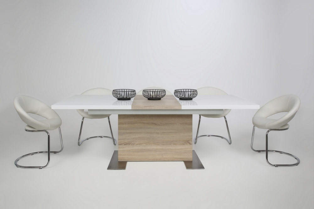 Table manger design laqu blanc brillant et ch ne sonoma rallonge bretin - Table blanc laque avec rallonge ...