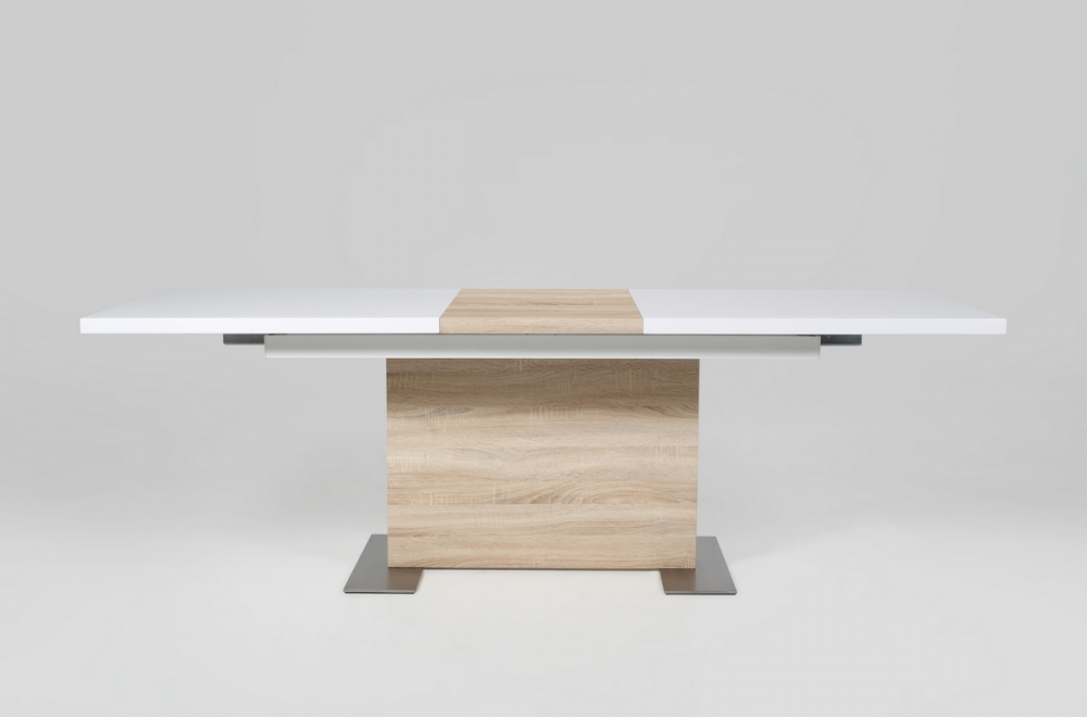 Table manger design laqu blanc brillant et ch ne sonoma for Table a manger bois et blanc