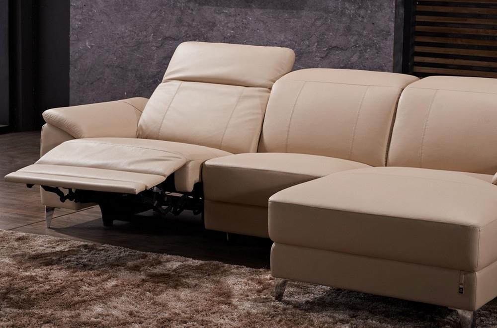 canap d 39 angle relax en cuir de buffle italien de luxe 5 places brio beige angle droit. Black Bedroom Furniture Sets. Home Design Ideas