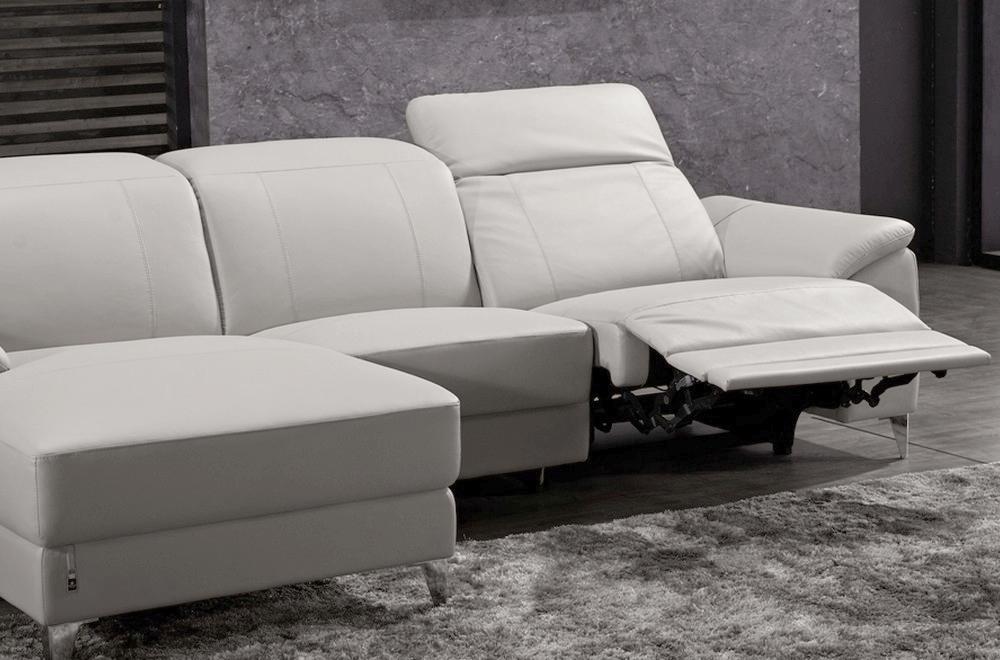 canap d 39 angle relax en cuir de buffle italien de luxe 5 places brio blanc angle gauche. Black Bedroom Furniture Sets. Home Design Ideas