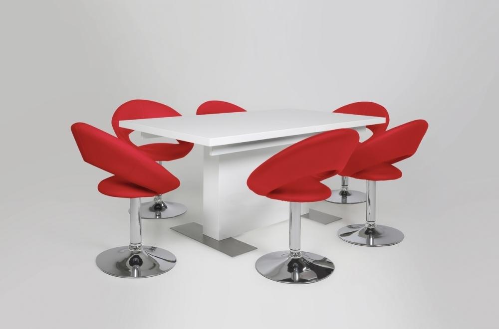 Table manger design laqu blanc rallonges bruni - Table a manger rallonge design ...
