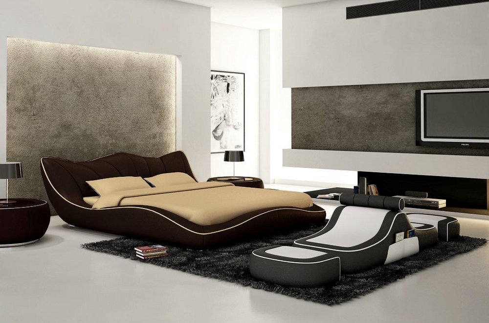 lit en cuir italien de luxe luxen chocolat et liseret. Black Bedroom Furniture Sets. Home Design Ideas