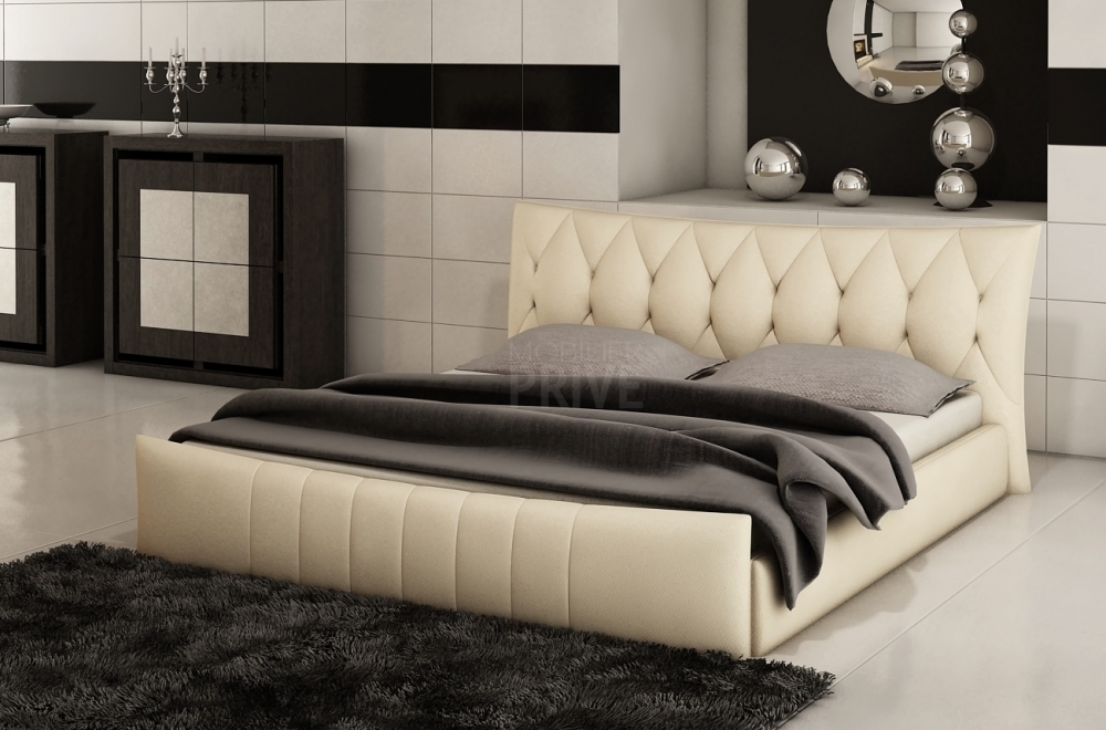 lit en cuir italien de luxe camille cru mobilier priv. Black Bedroom Furniture Sets. Home Design Ideas