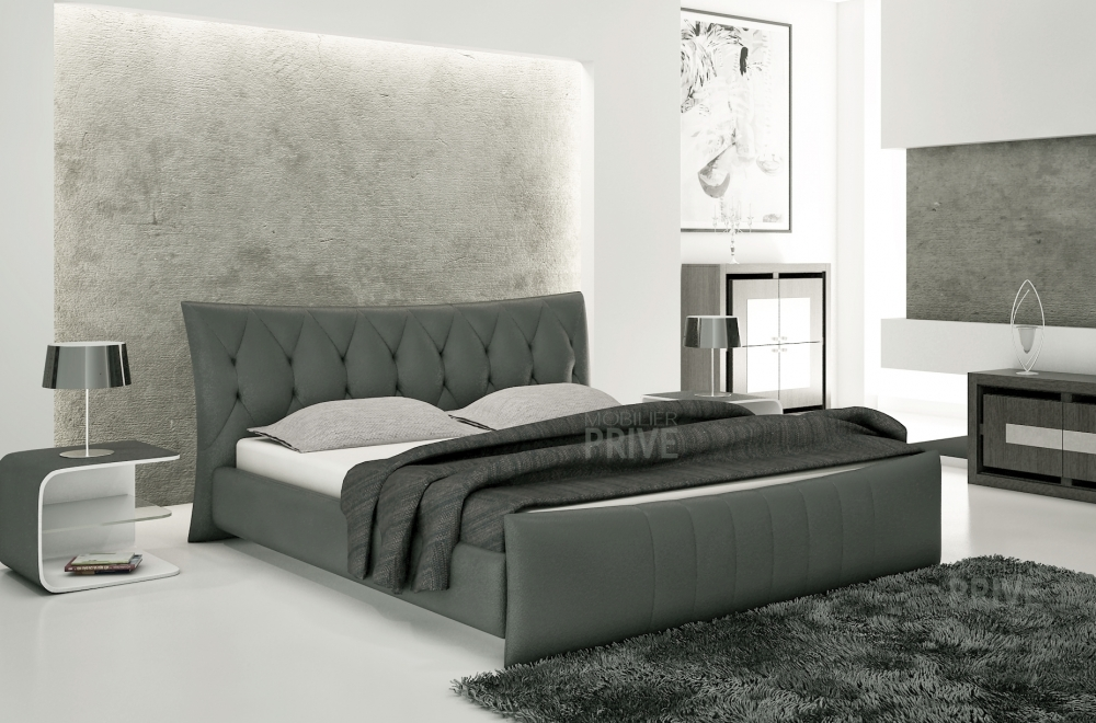 lit en cuir italien de luxe camille gris fonc. Black Bedroom Furniture Sets. Home Design Ideas