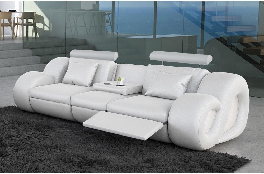 Canape 3 Places En Cuir Superieur Luxe Haut De Gamme Italien Monrelax Blanc