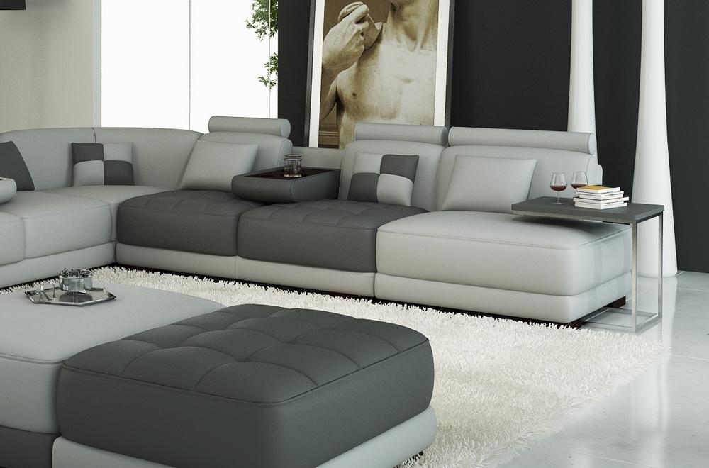 canap d 39 angle en 100 tout cuir int gral italien 7 8 places elixir prestige avec 3 poufs et la. Black Bedroom Furniture Sets. Home Design Ideas
