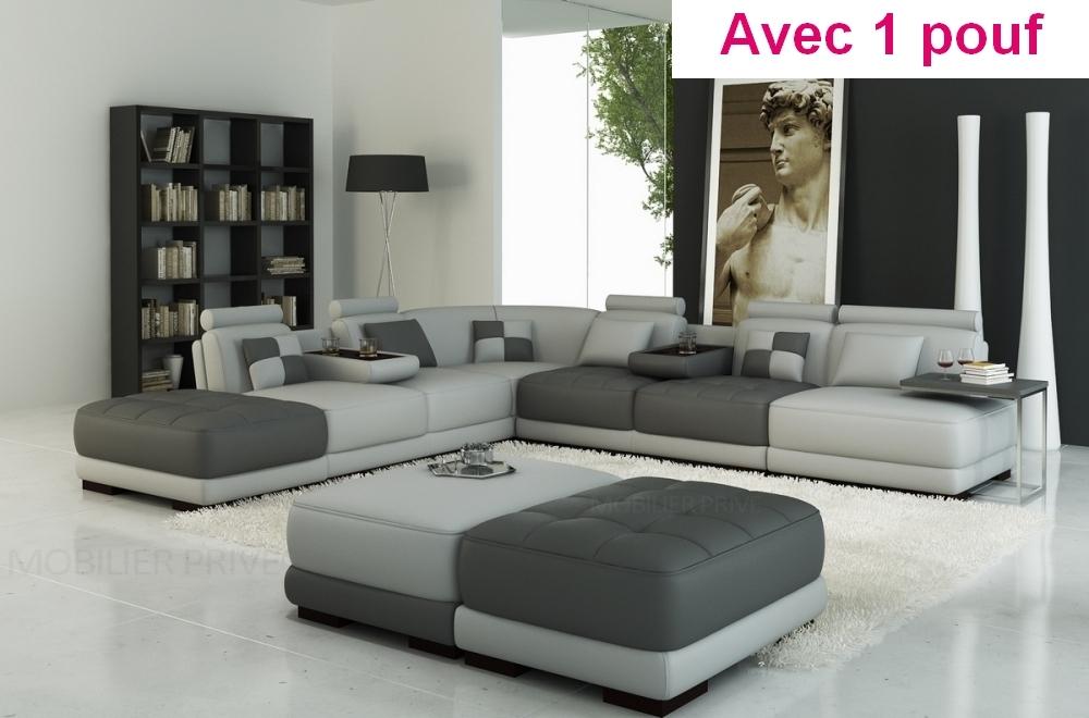 Canapé d'angle en cuir italien 7/8 places ELIXIR, gris clair et gris foncé, avec un pouf inclus