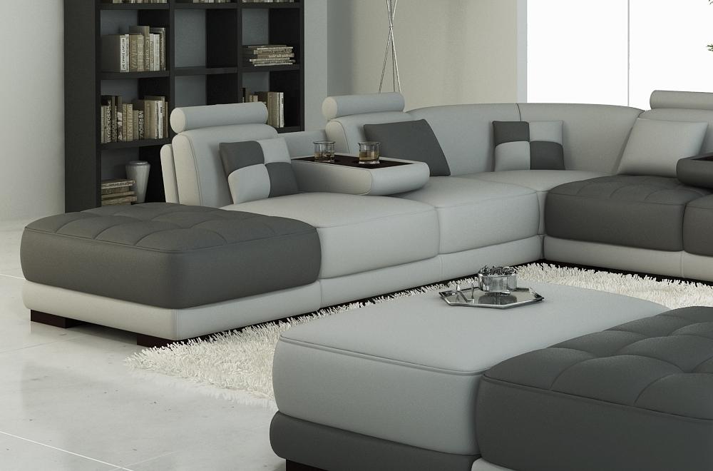 canap d 39 angle en cuir italien 7 8 places elixir gris clair et gris fonc mobilier priv. Black Bedroom Furniture Sets. Home Design Ideas
