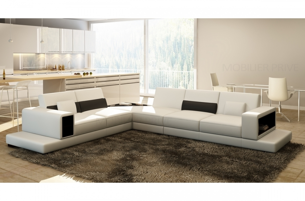 canap d 39 angle en cuir italien 6 7 places loft blanc mobilier priv. Black Bedroom Furniture Sets. Home Design Ideas