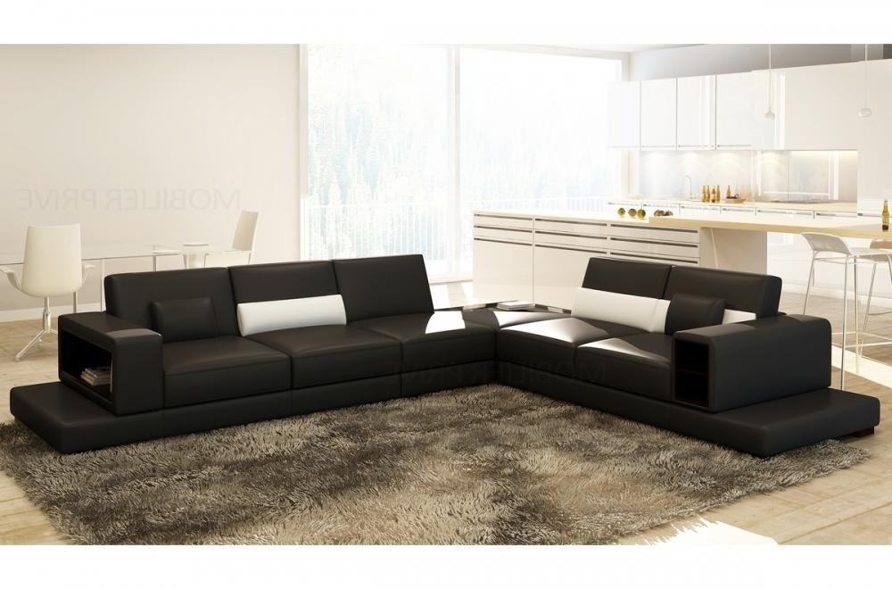 Canap d 39 angle en cuir italien 6 7 places loft noir for Canape d angle loft