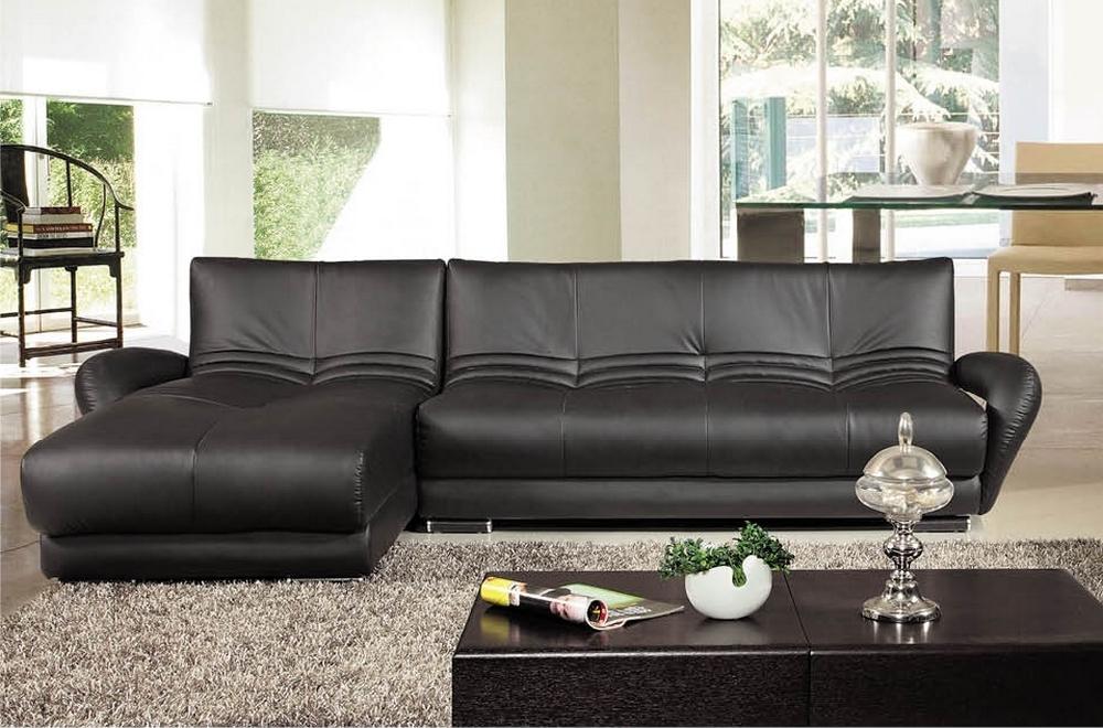Canap d 39 angle en cuir italien 5 places montparnasse noir mobilier priv - Canape angle cuir italien ...