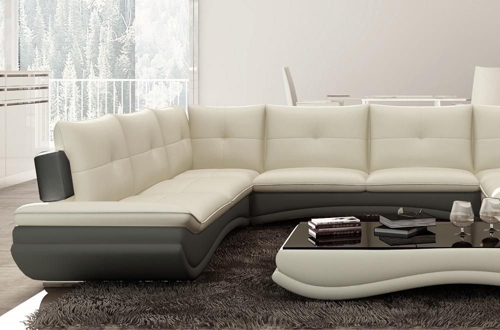 canap d 39 angle en cuir italien 7 8 places versalia cru et gris fonc angle gauche mobilier. Black Bedroom Furniture Sets. Home Design Ideas