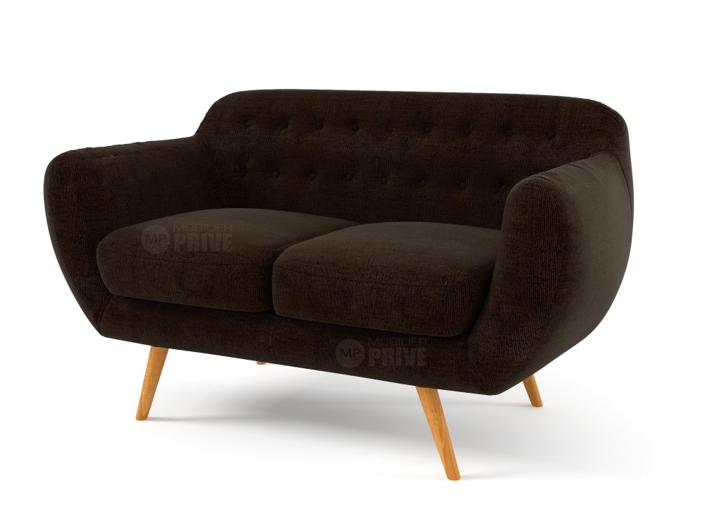 canap 2 places en tissu de qualit inava chocolat mobilier priv. Black Bedroom Furniture Sets. Home Design Ideas