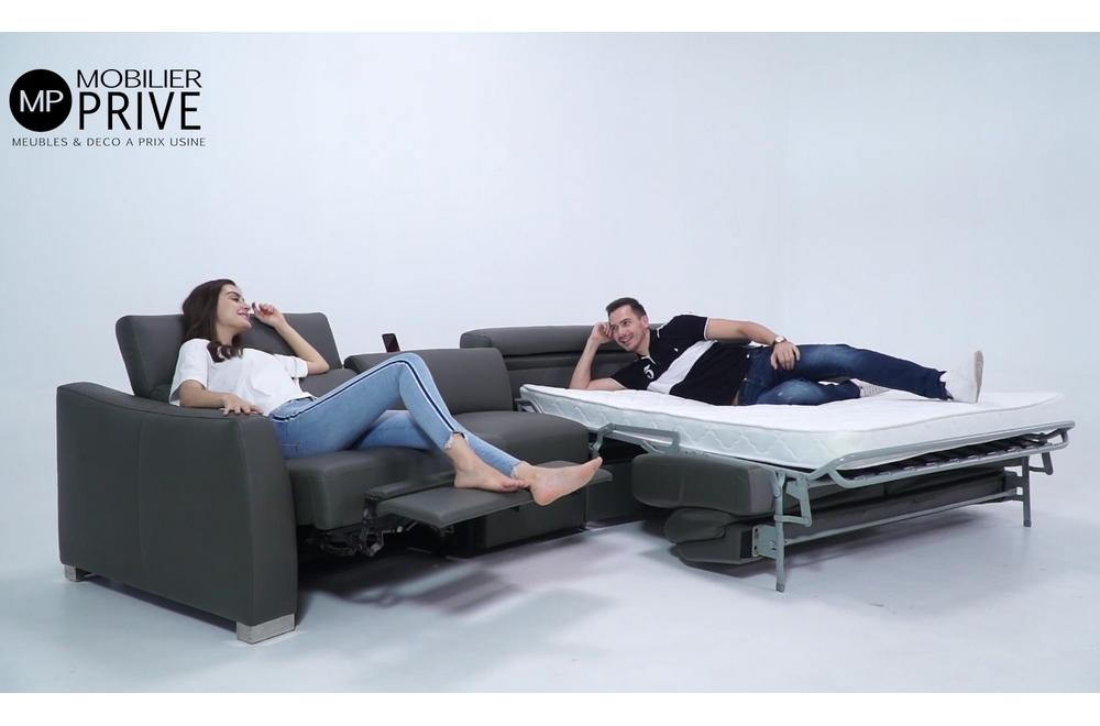 Canapé relax et convertible en cuir de buffle italien de luxe 5/6 places YUCA, noir