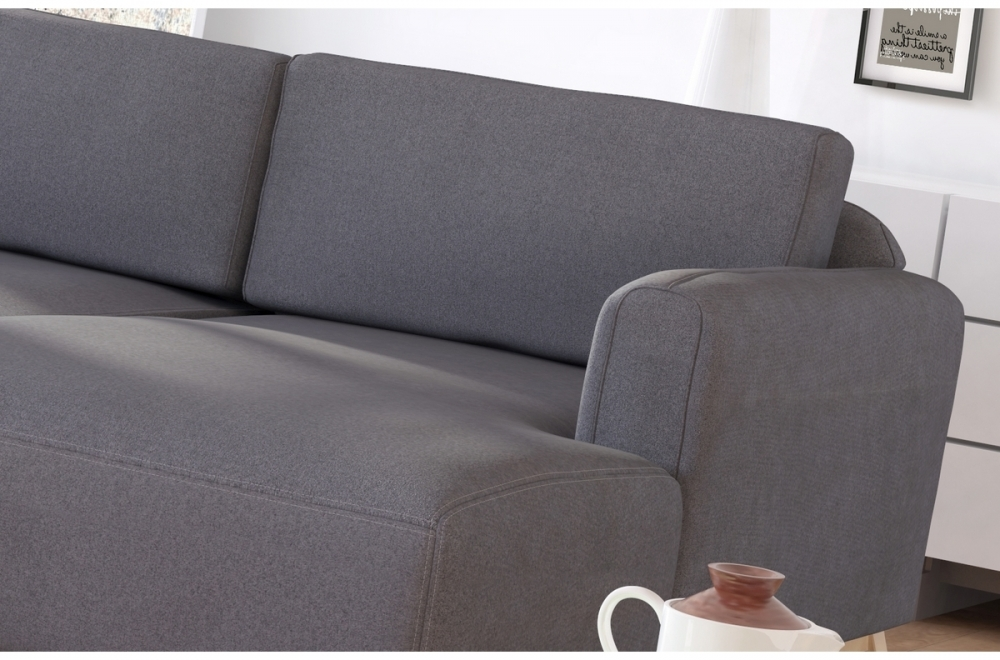 canap d 39 angle en tissu de qualit castel chocolat mobilier priv. Black Bedroom Furniture Sets. Home Design Ideas