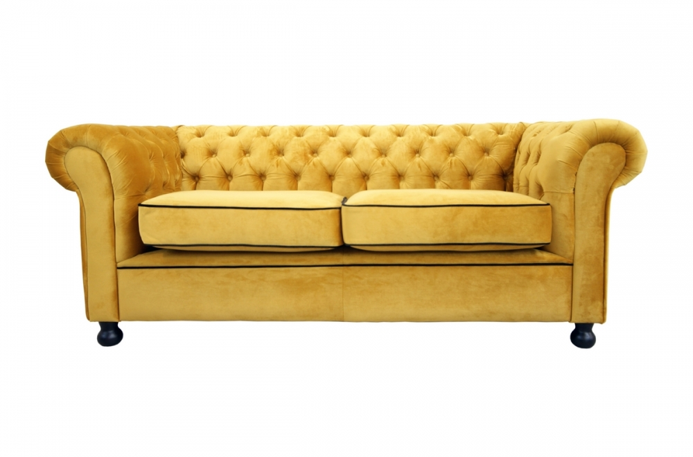 canap 2 places en tissu de qualit chesterfield jaune or mobilier priv. Black Bedroom Furniture Sets. Home Design Ideas