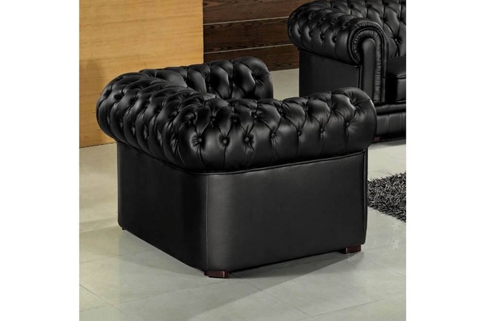 fauteuil 1 place en cuir italien chesterfield noir. Black Bedroom Furniture Sets. Home Design Ideas