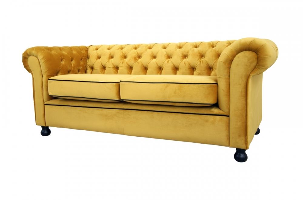 canap 3 places en tissu de qualit chesterfield jaune or mobilier priv. Black Bedroom Furniture Sets. Home Design Ideas