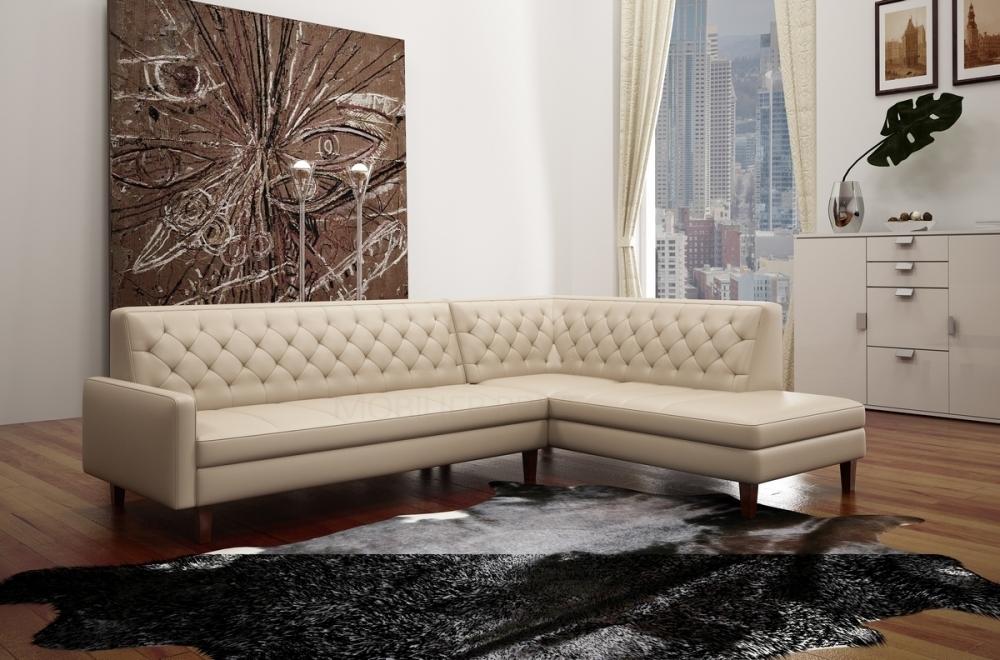 Canapé d angle en cuir italien 5 places chesty écru Mobilier Privé