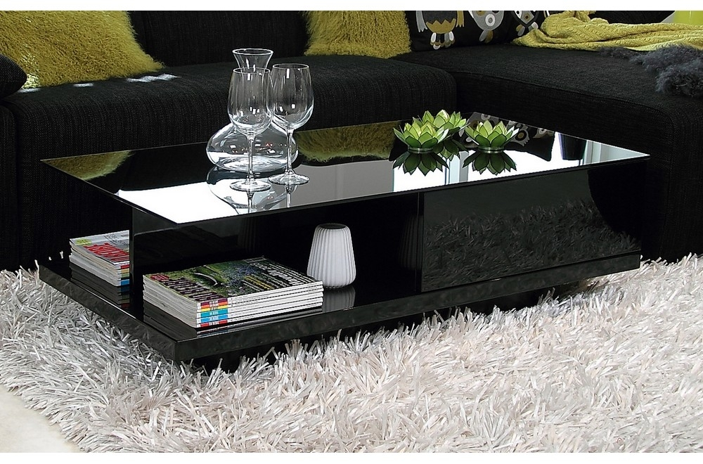Table Basse Design Noir Brillant Plateau De Verre Fonce Cindy