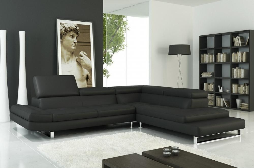 canap d 39 angle en cuir italien 5 6 places grand city noir mobilier priv. Black Bedroom Furniture Sets. Home Design Ideas